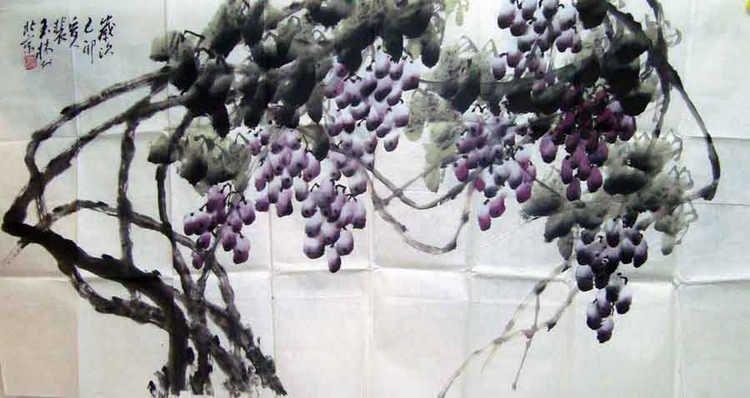 裴玉林书画作品字画收藏欣赏葡萄